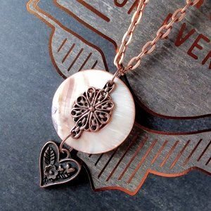 Copper Mother of Pearl Necklace with Heart